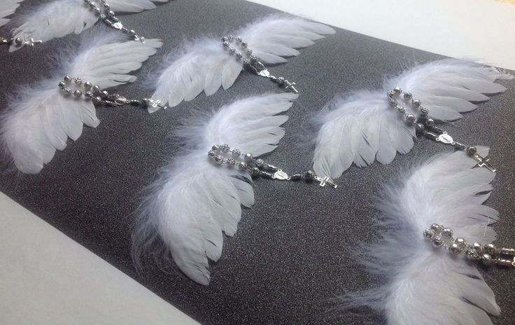 12 Pc Mini Angels White Wings W Rosaries Silver-color Baptism Favors Recuerditos
