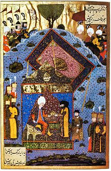 The Ottoman Sultan Suleiman the Magnificent returns the Holy Crown to John Zápolya.
