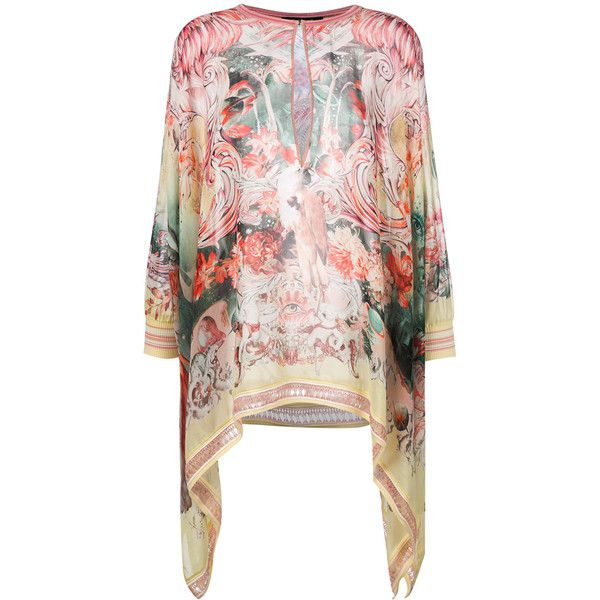 Roberto Cavalli Phoenix short kaftan ($1,028) ❤ liked on Polyvore featuring tops, tunics, yellow, short caftan, pink top, yellow top, pink long sleeve top and v neck tunic
