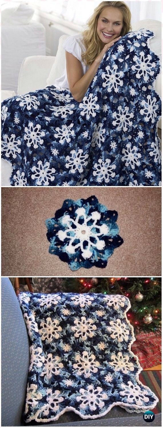 Crochet Dusty Snowflake Throw Blanket Free Pattern & Video – Crochet Christmas B…