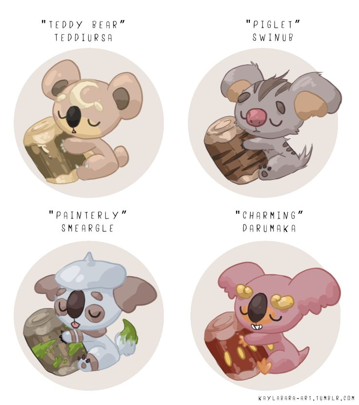 """kaylabara-art: """"jumped on that crossbreed/pokemon variation train. i love komala a lot and basically just found a few other pokemon in its egg group to crossbreed. it was a fun exercise! was..."""