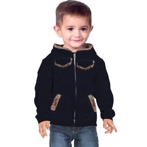 "Kid's ""Bershka"" Fleece 4 Pocket Fur Hoodie-Navy"