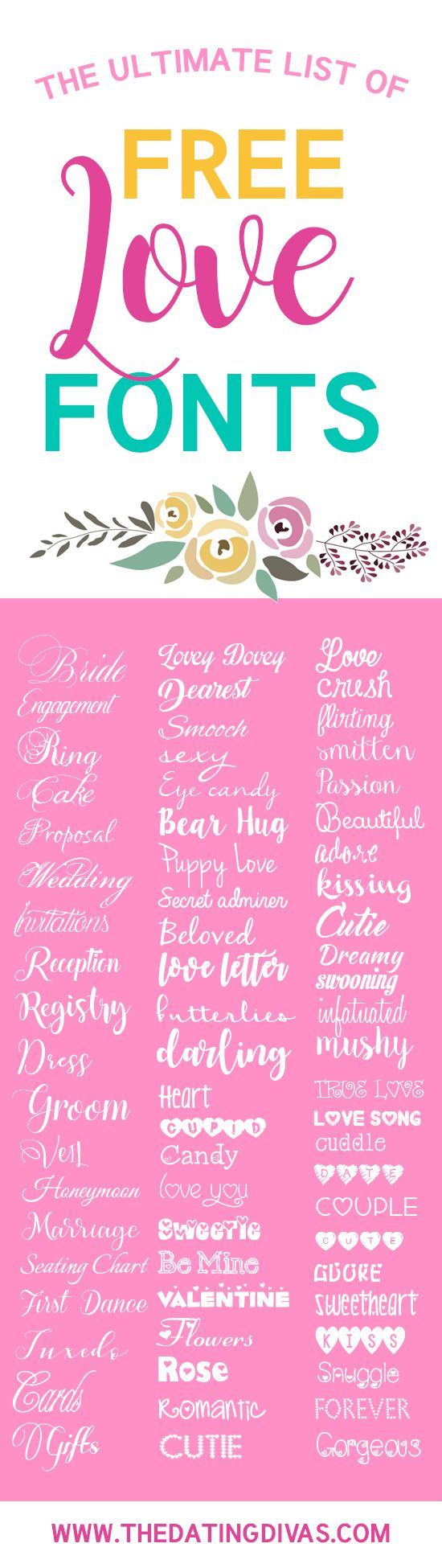 A list of the BEST love fonts on the internet! Completely free fonts for Valentine's day, a wedding, or for the romantic at heart!