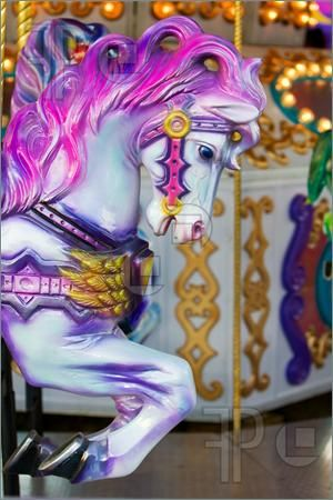 Free Pictures Of Carousel Horses | Picture of A colorful horse close-up on a carousel at the fair ground