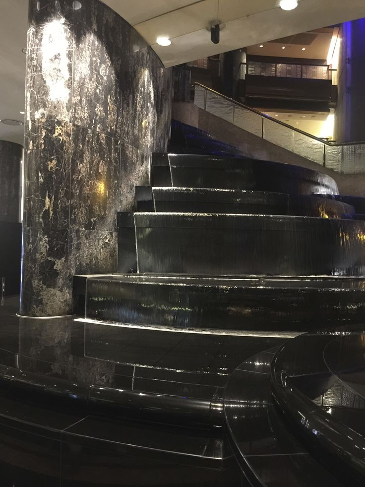 One feature of the Crown Atrium is this fountain, which is synchronised with a sound and light show.