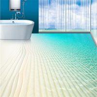 Modern Floor painting tropical beach boundless sea fan Waterproof Bathroom kitchen PVC Wall paper Self wall sticker Floor mural
