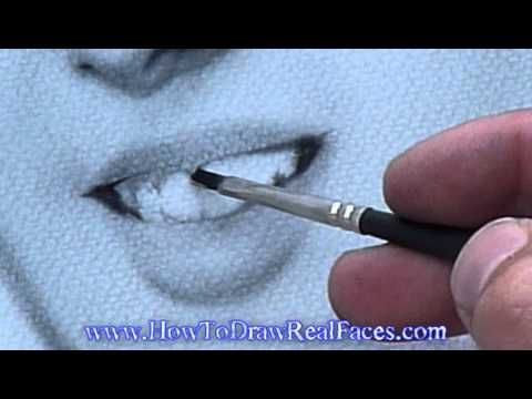 how to draw mouth with teeth.  At first thought powdered charcoal/powdered graphite was being used, but think it's all dry brush technique.