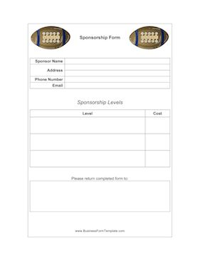 Customizable form for you to send to potential sponsors. Fill in the sponsorship levels and the cost for each. Complete with images of footballs at the top of the page. Free to download and print