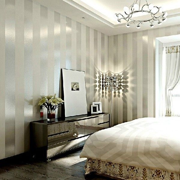 Grey sliver stripe non woven wallpaper for living room for Grey wallpaper bedroom