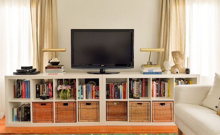 IKEA TV Stand Designs You Can Build Yourself A practical option would be to also use the TV stand as a storage unit. In that case, you can use a pair of IKEA shelving units to build the TV stand out and there will be plenty of storage inside the compartments. You can also get some baskets that perfectly fit inside to better organize everything.