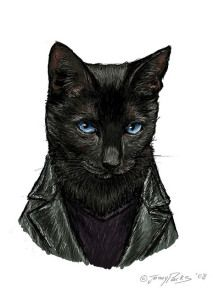 The Ninth Doctor as a cat.  This is actually pretty good!