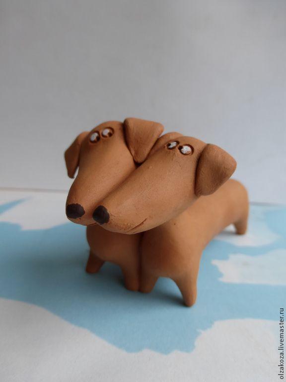 Купить Таксы - рыжий, такса, собака, керамические звери, собаки керамические, породы собак