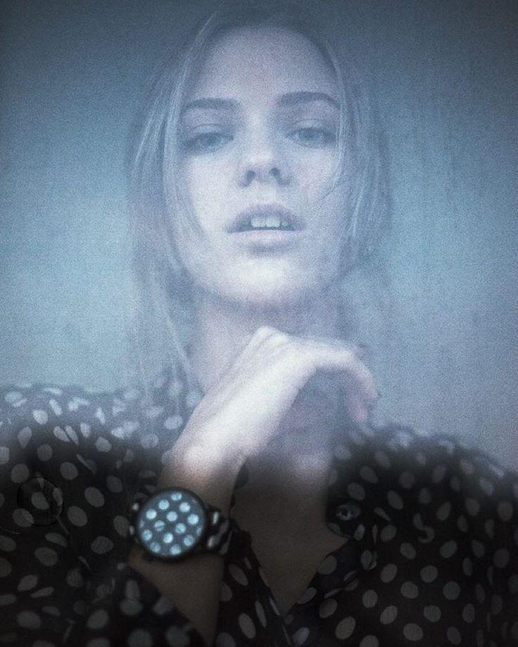 """""""Portrait of Eugenia @eugeniabelli_  @komono x @happysocksofficial watch"""""""