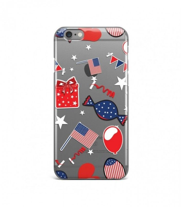Candy and Flags American Pattern Clear or Transparent Iphone Case for Iphone 3G/4/4g/4s/5/5s/6/6s/6s Plus - USA0068 - FavCases