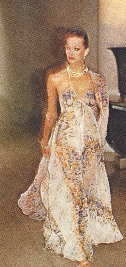 Chiffon dress by Ossie Clark...whispy etherial billowy chiffon all ossie trademarks.