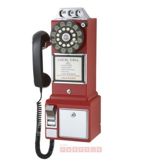 Téléphone public Crosley rouge | accueil