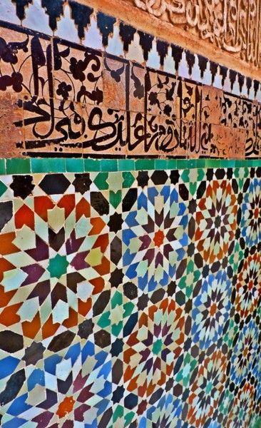 Mosaic on Medersa Ben Yousef, Marrakesh, Morocco.