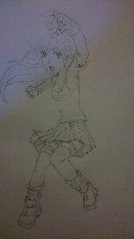 Manga Girl Pencil Drawing (design from Christopher Hart book)