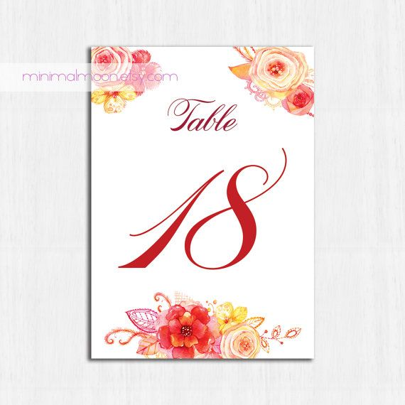 Table Numbers autumn flowers floral table numbers PRINTABLE  by MinimalMoon on Etsy