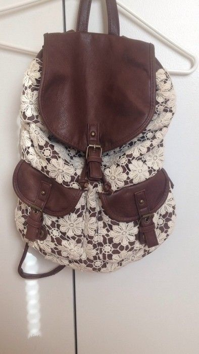 NEW! Never used! Claire's faux brown leather and off-white lace backpack. #adorable #cute #girly #trendy #fashionable #sty...