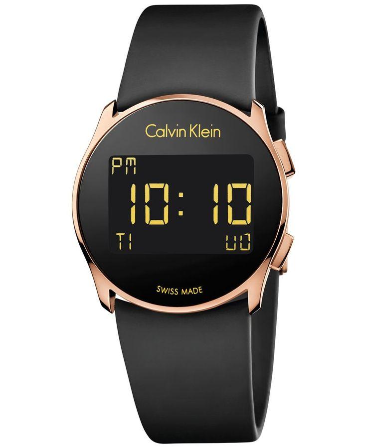 Calvin Klein Women's Swiss Digital Future Black Rubber Strap Watch 39mm K5B236D1