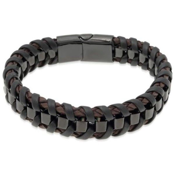 Belk & Co.  Men's Stainless Steel And Leather Bracelet (€87) ❤ liked on Polyvore featuring men's fashion, men's jewelry, men's bracelets, multi, mens leather bracelets, mens brown leather bracelets, mens leather braided bracelets, mens watches jewelry and mens bracelets