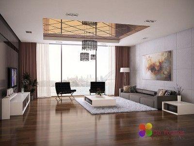Сочетание цветов в интерьере гостиной - коричневый