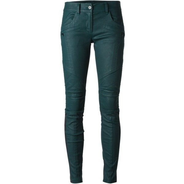 DKNY Coated Skinny Trousers ($153) ❤ liked on Polyvore featuring pants, trousers, bottoms, jeans, pantaloni, green, blue skinny pants, skinny pants, skinny trousers and blue pants