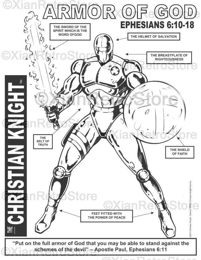 The Christian Knight The Armor Of God Printable Coloring Etsy Armor Of God Bible Coloring Pages Ephesians