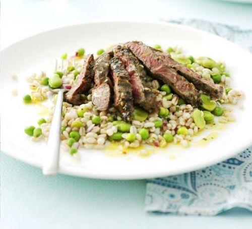 Marinated lamb steaks with barley salad #NotYourGrandmasLamb