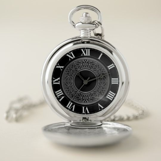 Chic Silver Medallion Pocket Watch