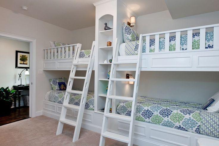 Traditional Kids Bedroom with Built-in bookshelf, Carpet, Built in bunk beds, Platinum Plus Improv I 12 ft. Carpet