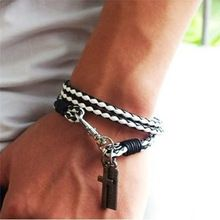 Lackingone 2015 venda quente 7 cores moda homens jóias 4 mm homens pulseira de couro cruzadas pulseiras homens melhores pulseiras de amizade(China (Mainland))