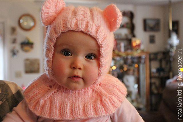 "Купить Шапочка-шлем ""Мишутка"" - бледно-розовый, шлем, шлемик, мишка, мишутка, шапочка с ушками"