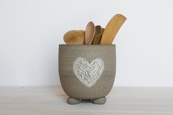 Pottery utensil holder kitchenware ceramic por OritCreativeWorkshop