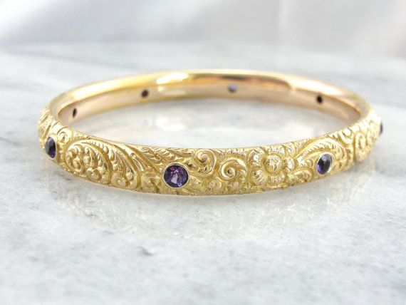 Victorian 14K Solid Gold Bangle with Amethysts by MSJewelers, $4165.00