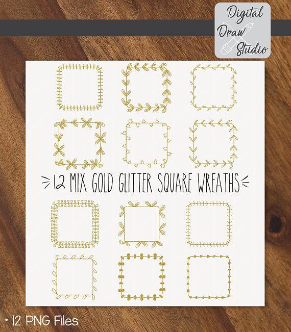 12 Gold Glitter Square Wreaths Clip Art  Square Hand Drawn