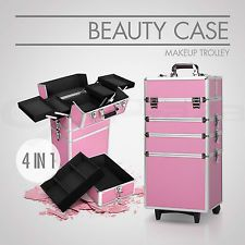 4 In 1 Beauty Case Portable Makeup Cosmetic Trolley Travel Carry Box Pink
