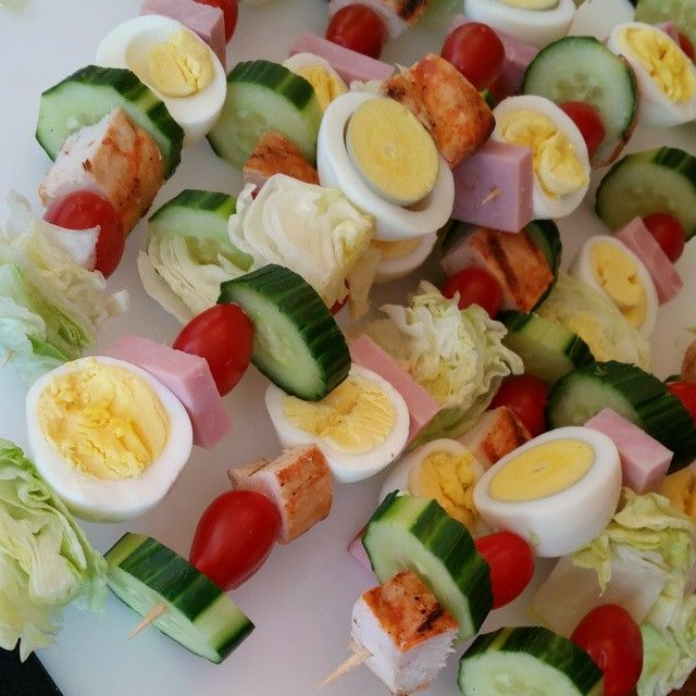 Love this neat, easy to pass & eat #Cobb Salad On-a-Stick courtesy #cleanfoodcrush