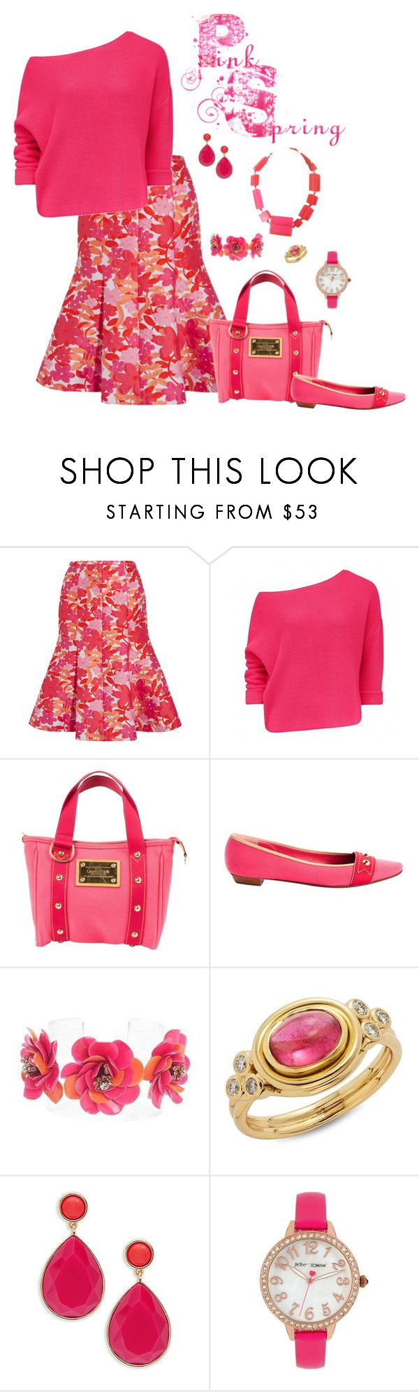"""""""Pink Spring"""" by lwilkinson ❤ liked on Polyvore featuring Michael Kors, Louis Vuitton, Forest of Chintz, Temple St. Clair, Trina Turk, Betsey Johnson and Ugo Correani"""