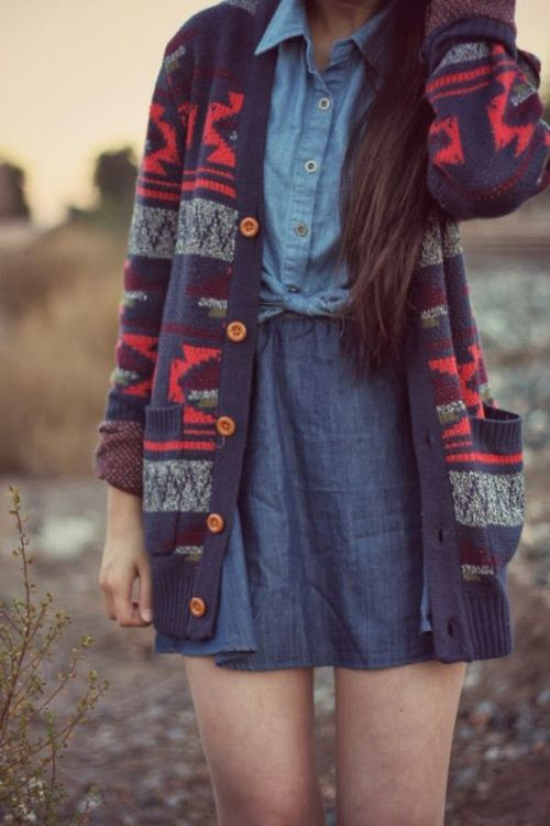 denim jean skirt chambray button down shirt red and blue patterned cardi