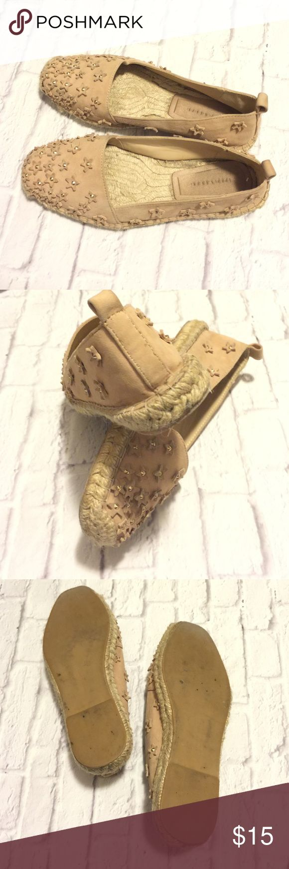 Gently worn ZARA flats Pretty blush, nude espadrille-style flats need a new home.  Hardly worn, with star and gold embellishments. Zara Shoes Espadrilles