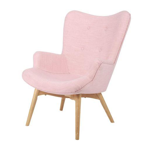 Sillón vintage de tela rosa