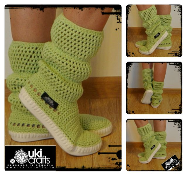 Crochet boots summer -cotton 100%-Pistachio from Uki-Crafts by DaWanda.com