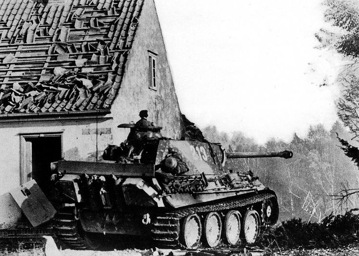 """Panther Ausf.G """"213"""", Pz.Rgt. 31, 5. Panzer-Division, patrolling on the outskirts of Goldap, East Prussia, four days after the counterattack conducted by the Wehrmacht, who retook the first city of German Reich to fall for the Red Army. 7 November 1944."""