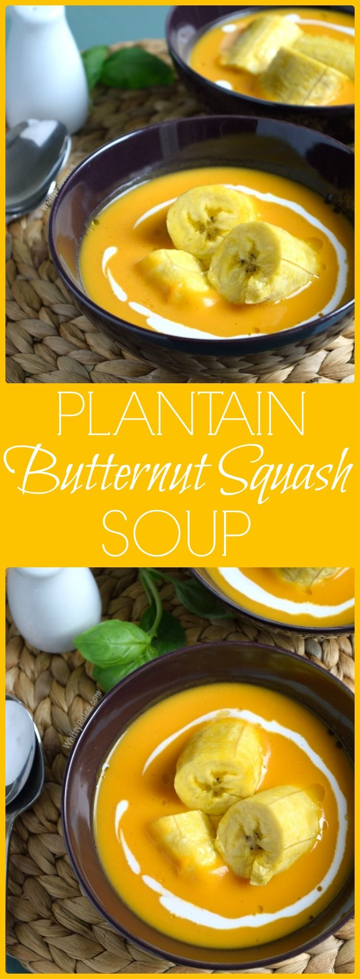 Paleo, Gluten Free and Dairy Free Sweet Boiled Plantains and Butternut Squash Soup from WhittyPaleo.com