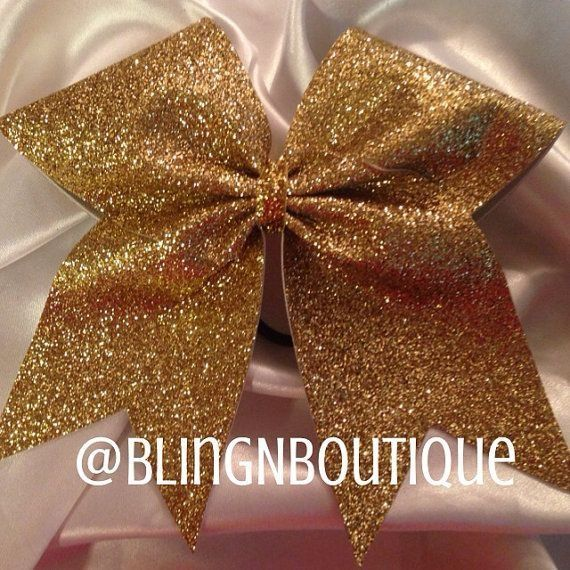 Sparkly Cheer Bows | Gold Sparkle Bow