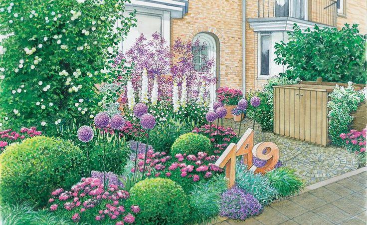 Die Hausnummer als Steinskulptur im Beet gibt dem Vorgarten Charakter
