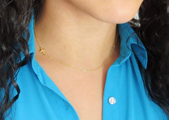 Tiny Gold Side Cross Necklace, Extra Tiny Gold Sideways Cross Necklace, Gold Choker Cross Necklace, Bridesmaids Gifts