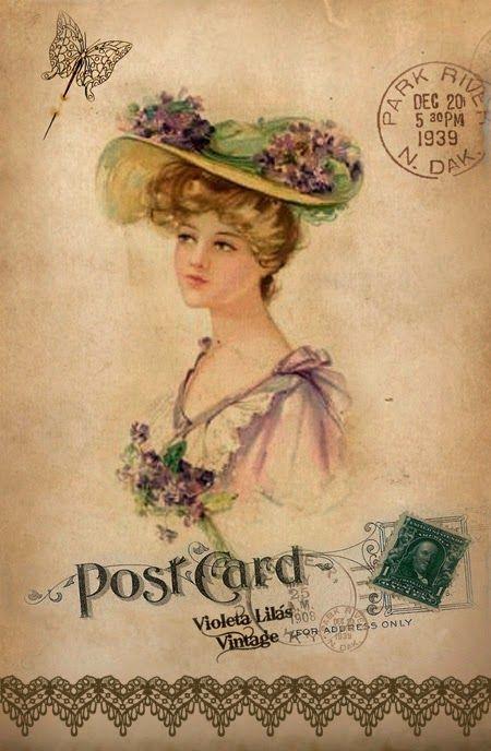Violeta lilás Vintage: Post Cards: Vintage lady in straw hat with violets & pink dress with violet bouquet,stamp,butterfly,postmark.